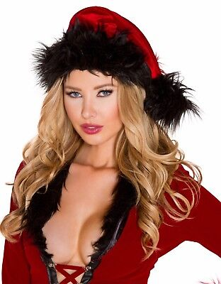 Santa Claus Hat Womens Red And Black Faux Fur Trimmed Christmas Accessory
