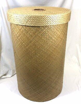 - Large Round Designer Wicker Laundry Hamper with Lid Shabby Chic Storage Basket