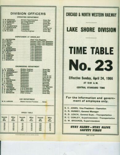 CHICAGO & NORTH WESTERN RAILWAY ETT TIMETABLE LAKE SHORE DIVISION #23  4-24-1966