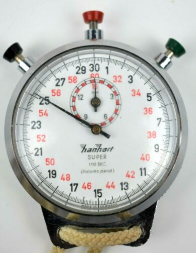 AS IS  VINTAGE Hanhart Super 1/10 Sec StopWatch Antimagnetic GERMANY for Parts