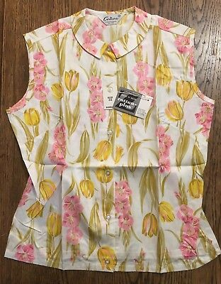True Vtg NOS 40's-50's Ladies COUTURE Sleeveless Floral Rockabilly Blouse Small - 50s Blouse
