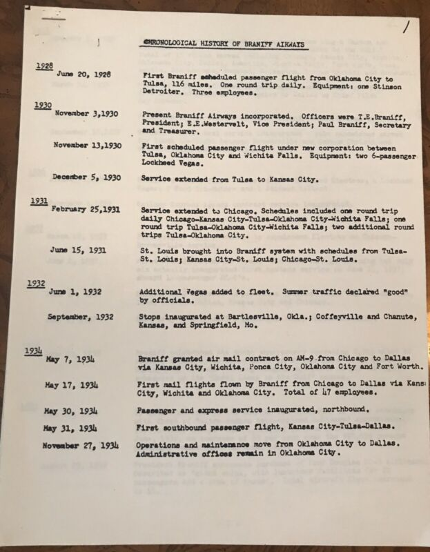 Chronological History Of Braniff Airways 1928-1978