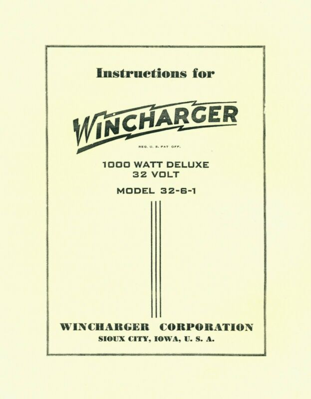 Wincharger Instructions