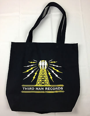 Third Man Records Jack White Rolling Record Store Tower Reusable Black Tote Bag