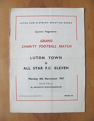 LUTON TOWN v ALL STAR XI Friendly 1957/1958 *Good Cond Football Programme*