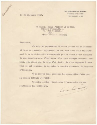 Louis Lumière (First Filmmakers) – Unusual content typed letter signed