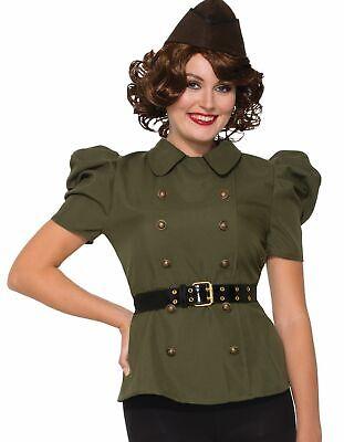 World War Two Costumes (1940's Bombers and Bombshells Costume Shirt with Belt Womens World War 2)