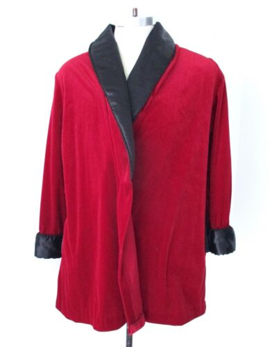 Vtg red velour smoking jacket robe black satin collar (no belt) pockets Mens L