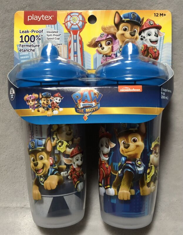 NEW and FACTORY SEALED Playtex PAW Patrol 9oz Sippy Cup Mugs 2-Pack 12M+