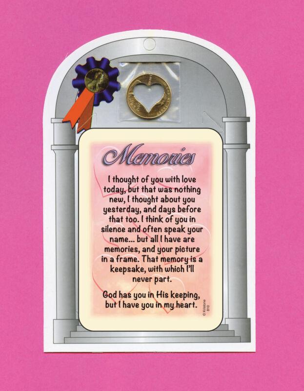 """Memories"" Poem - Verse Card with Heart Penny - SKU# 810"