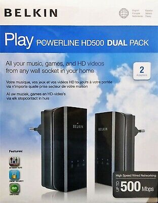BELKIN Play POWERLINE HD500 DUAL PACK per Smart TV PC CONSOLE Musica...