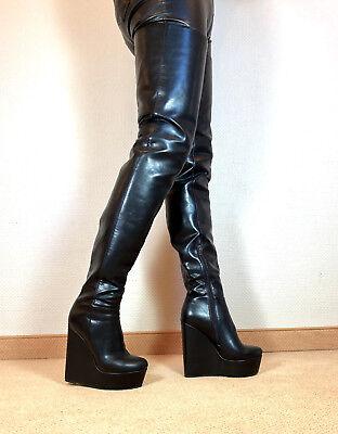Sexy Boots (Gr.46 TOP ! Exklusiv Sexy Damen Schuhe Overknee Wedges Stiefel Männer Boots F1)