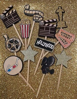 12 Movie Cinema Hollywood Party Cupcake Toppers/Food picks/Theme/Oscars - Movie Theme Party