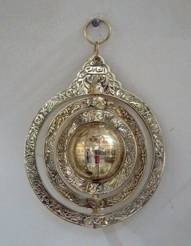 Brass arabic calendar wall mounted astrological vintage navigational astrolab