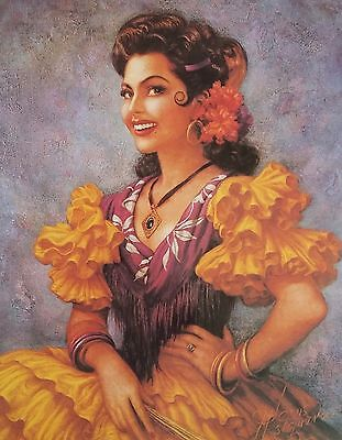 Vintage Traditional Mexican Calendar Art Jesus Helguera beautiful spanish women