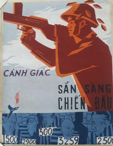 Original Gouache Vietnamese War Propaganda Poster - To be Vigilant