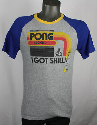 Atari Pong Retro Vintage Style Raglan Gamer T-Shirt NEW S old school nes snes
