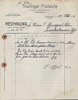 STADTLENGSFELD, Rechnung 1915, Thüringer Filz-Fabrik G.m.b.H.