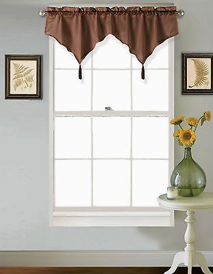 Faux Silk Curtains Chocolate (CHF 1PC Solid Brown Chocolate Faux Silk Window Ascot Valance Topper Waterfall)