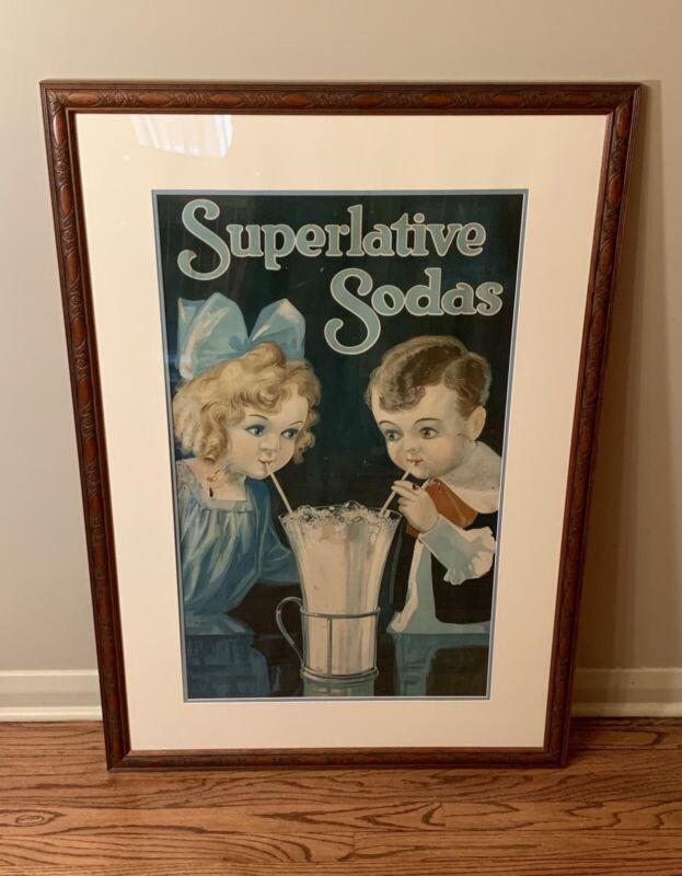 Superlative Sodas Early Large Cardboard Advertising Framed Poster