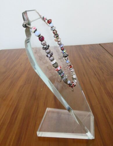 """RARE HEAVY 5LBS,1/2""""THICK CRYSTAL NECKLACE PRESENTATION DISPLAY STAND,14"""" TALL"""
