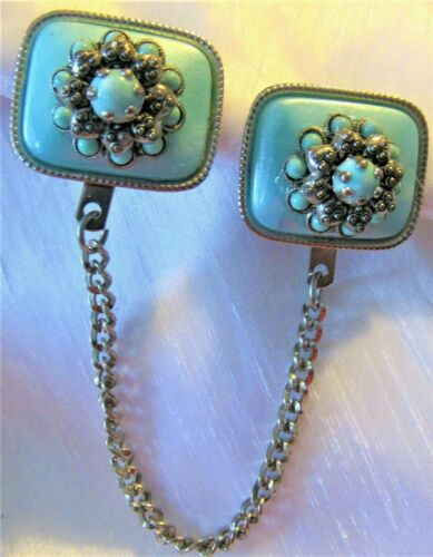 Vintage Turquoise Tone Sweater Dress Scarf Guard Clip (C)