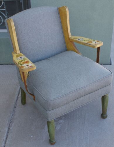 Rare Circa 1930 Original Monterey Wing Chair In Old Paint With Floral Decoration