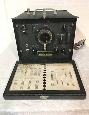 Antique U.s Signal Corps Frequency Meter Bc-211-al Great Condition Wbook-nice