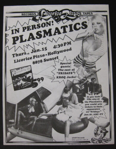 The PLASMATICS Licorice Pizza HOLLYWOOD 1981 In-Store Flyer WENDY O Stiff PUNK
