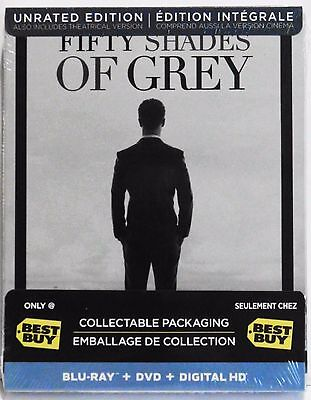 Fifty Shades Of Grey Steelbook  Blu Ray Dvd Combo  Best Buy Excl  Unrated  New