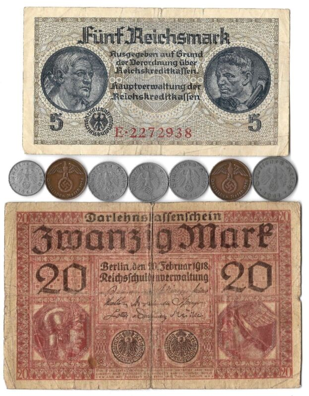 Rare Old WWI WWII WW2 Nazi Germany SS War Coin Dollar Note German Collection Lot