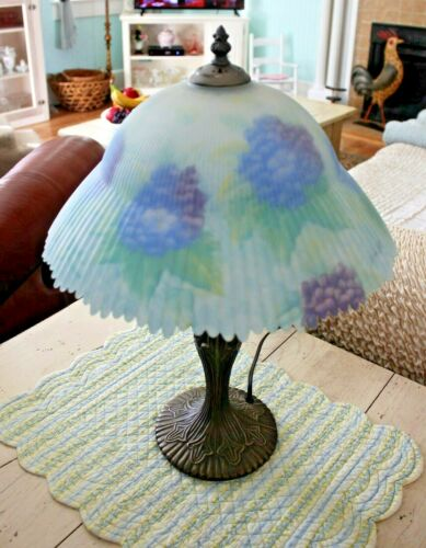 Glynda Turley Hand Painted Glass Shade Floral Hydrangea Table Lamp Tiffany