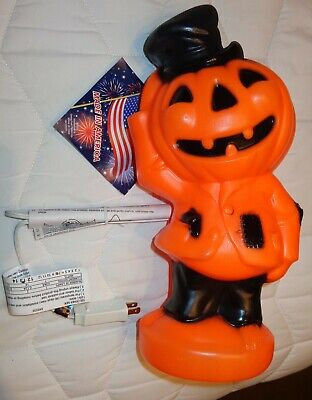 NWT General Foam Plastic Halloween Blow Mold PUMPKIN SCARECROW JACK-O-LANTERN