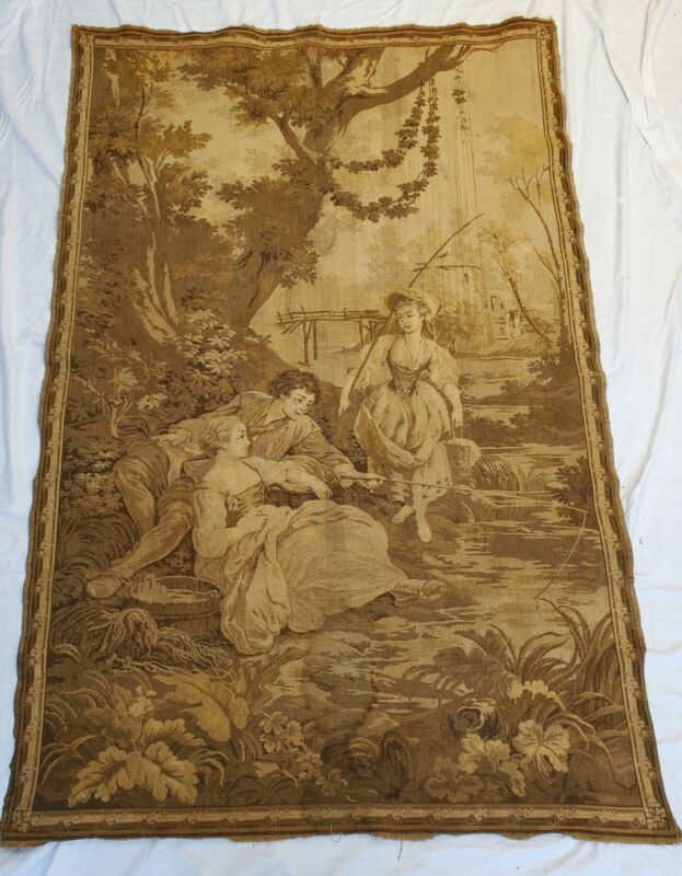ANTIQUE FRENCH TAPESTRY AUBUSSON STYLE FISHING FRANCE COUNTRYSIDE 18TH CENTURY