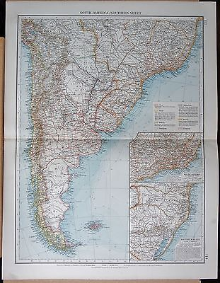 """1900 """"TIMES""""  LARGE ANTIQUE MAP - SOUTH AMERICA SOUTHERN SHEET, INSET RIO,"""