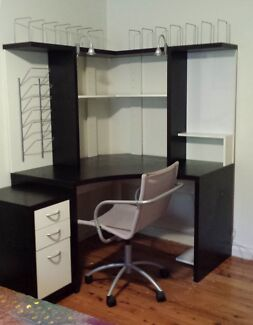 Corner desk unit with shelving & chair West Pymble Ku-ring-gai Area Preview