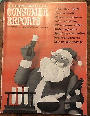 November 1961 CONSUMER REPORTS Christmas Polaroid .22 Rifles Electric Trains Auto Electric Rifle Magazine