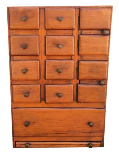 19th Century Small Apothecary Pine Chest with Nine Plus Drawers