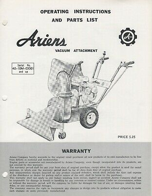 ARIENS VACUUM ATTACHMENT OPERATORS/PARTS MANUAL VA-65 (502)