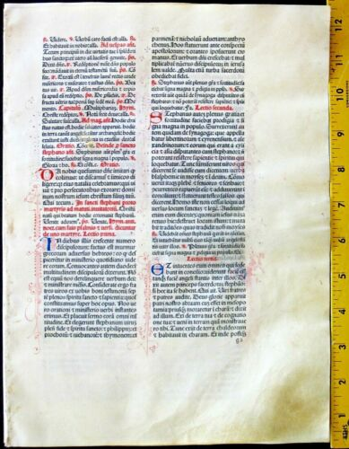 Extremely rare incunabula,Breviary leaf on vellum,handpt.initials,Jenson,1478#1C