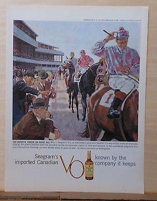1959 magazine ad for Seagram's VO - jockeys parading horses illustration, Derby