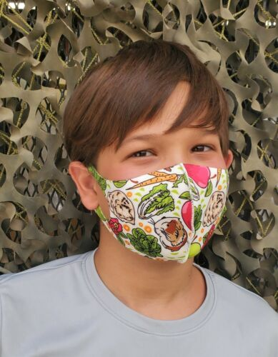 KIDS Fun Guinea Pigs with Fruits and Veggies Face Mask 100% To Guinea Pig Rescue