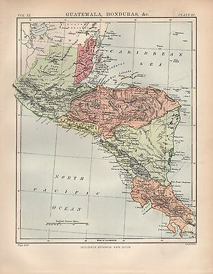 1880 ca ANTIQUE MAP-CENTRAL AMERICA, GUATEMALA, HONDURAS &c