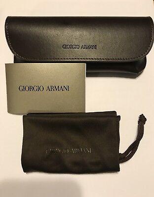 f09a2b06562 New Giorgio Armani Eyeglass Sunglass Leather Case Brown With Cloth Pouch