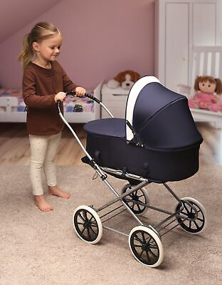 Just Like Mommy 3-in-1 Doll Pram, Carrier, and Stroller - Navy/White Doll Pram Carrier Stroller
