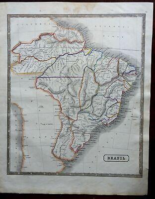 Brazil South America Provincial Map Amazon River Rio de Janiero 1846 scarce map