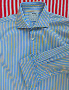 T M Lewin striped cotton shirt Cutaway Collar size 16 inch Double cuff