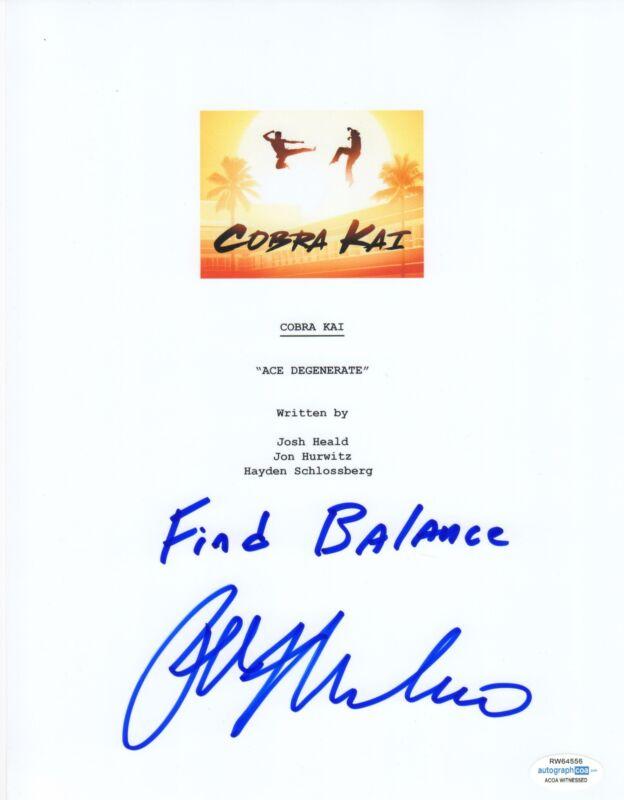 Ralph Macchio Autograph Signed Cobra Kai Karate Kid Script ACOA Witness ITP