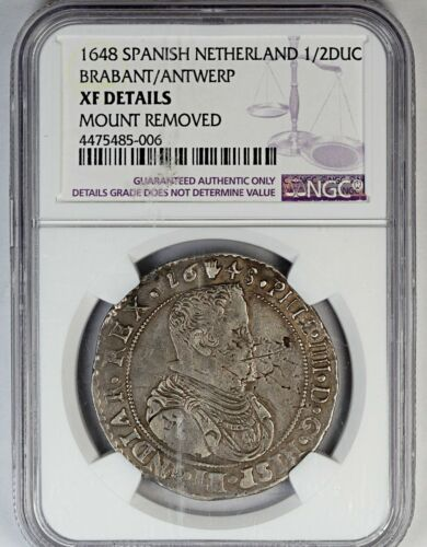1648 NGC XF Details Spanish Netherlands 1/2 Ducat - Mount Removed