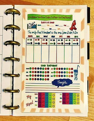 Fitnesssleepwaterfood Log Dashboard Insert For Use With Mini Happy Planner
